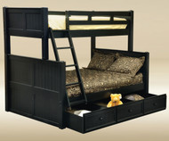 CLEARANCE Hampton Twin over Full Bunk Bed Black | Good Trading | GT-TF83001BLK-SD