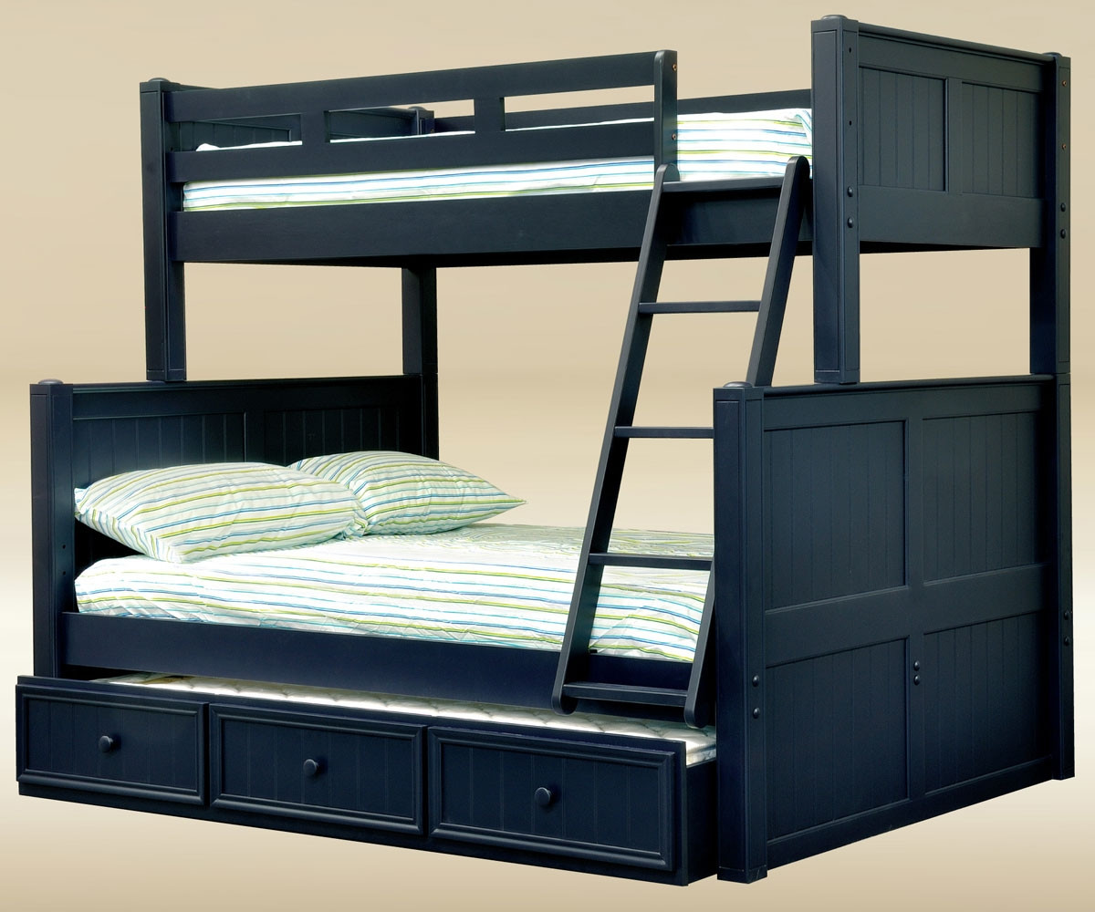 Blue Twin Over Full Bunk Bed For Kids Tf83001 Cottage Style Bunk