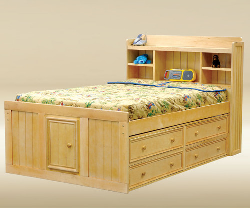 Hampton Full Size Bookcase Captains Bed Natural | Jay Furniture 1 |  GT WFCAFX