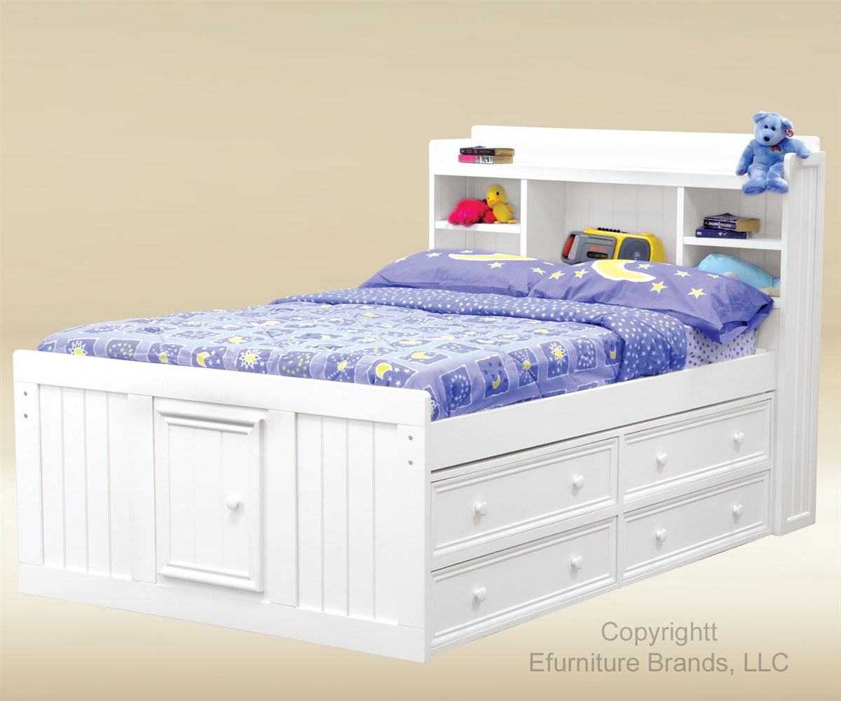 Full Size Captains Bed With Storage Drawers White