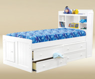 CLEARANCE Hampton Twin Size Bookcase Captains Bed White | Jay Furniture 1 | GT-WFCATX-WHT