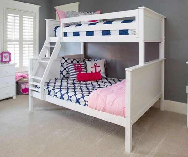 Jackpot Twin Over Full Bunk Bed White Kids Furniture 710100tf