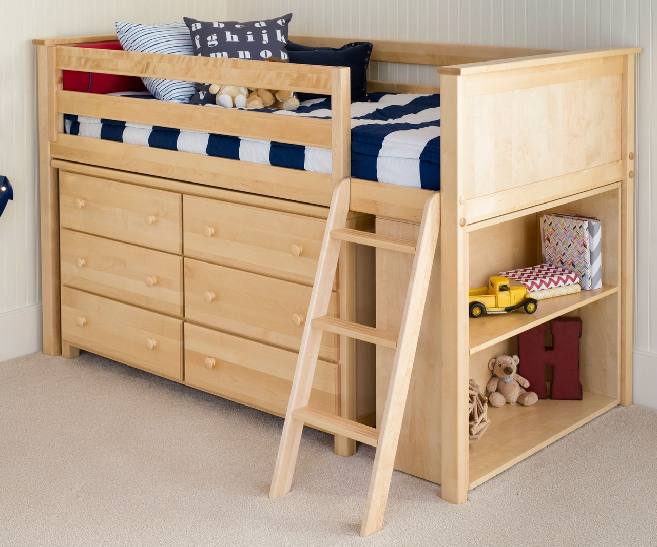 Jackpot Natural Finish Low Loft Bed With Dresser And Bookcase