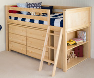 Jackpot Low Loft Bed with Dresser and Bookcase Natural | Jackpot Kids Furniture | JACKPOT-710110X-001