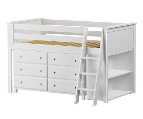 Jackpot White Finish Low Loft Bed with Dresser and Bookcase ...