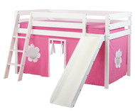 Jackpot SHUFFLE Low Loft Bed with Slide & Curtains White | Jackpot Furniture | JACKPOT-SHUFFLE78