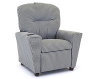 Kidz World Recliner Designer Fabric Black and White Houndstooth | Kidz World | KW1300-HBL