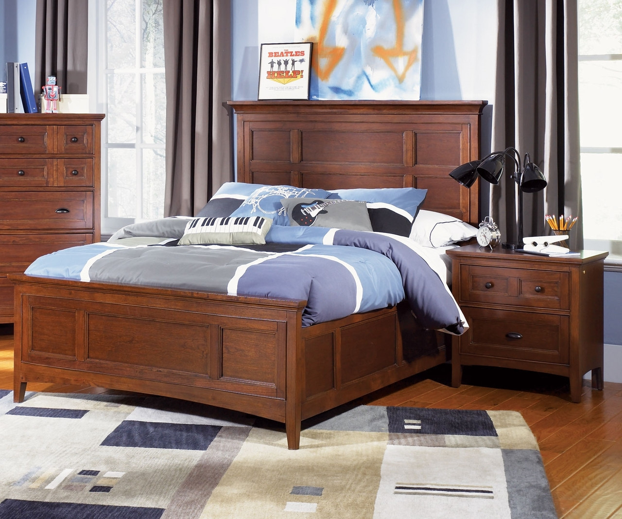 Riley twin size panel bed y1873 54 magnussen home boys for Twin size beds for boys