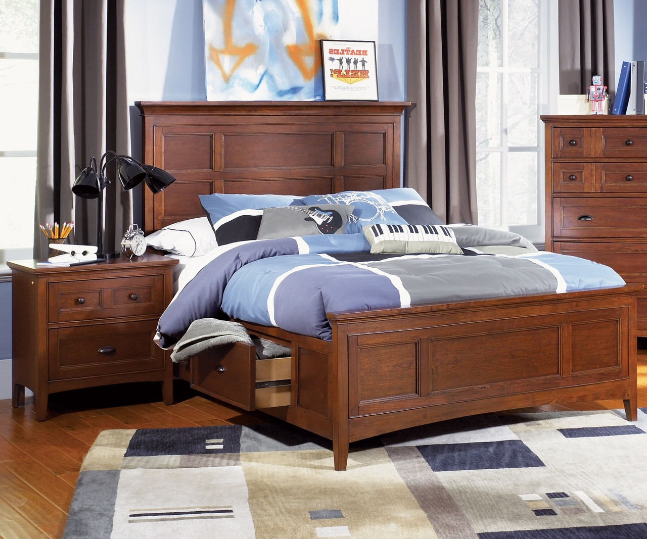 Riley full size panel bed with storage y1873 64 for Boys full size bed