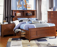 Riley Bookcase Bed with Storage Full Size | Magnussen Home | MHY1873-68X