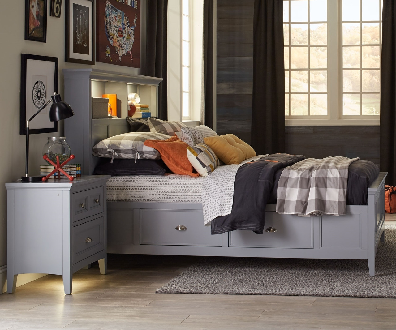 Graylyn Twin Size Bookcase Bed With Storage Y3572 58 Magnussen