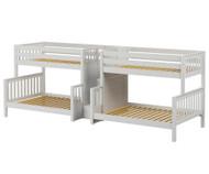 Maxtrix BIGBANG Quadruple Bunk Bed with Stairs Twin over Full Size White   Maxtrix Furniture   MX-BIGBANG-WX