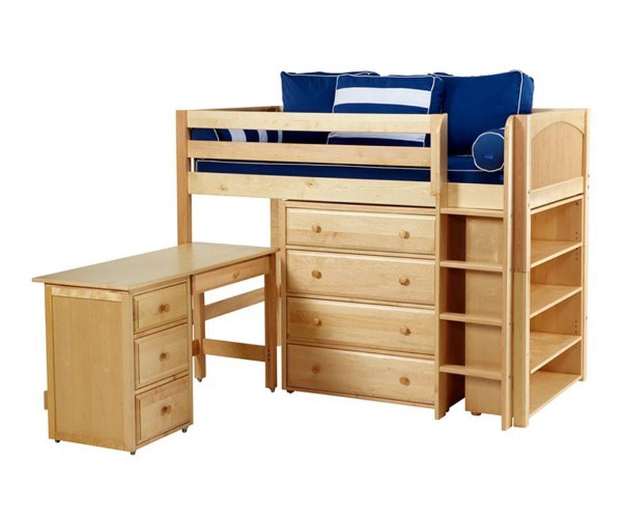 maxtrix bling3l mid loft bed with storage desk matrix kids furniture solid wood bed frames. Black Bedroom Furniture Sets. Home Design Ideas