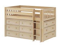Maxtrix BOX Low Loft Bed w/ Dressers Twin Size Natural | Maxtrix Furniture | MX-BOX-NX
