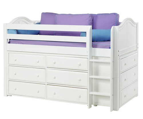 Maxtrix BOX Low Loft Bed W Dressers Twin Size White