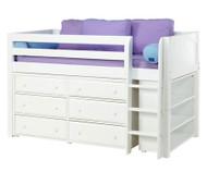 Maxtrix BOX Low Loft Bed w/ Dresser & Bookcase Twin Size White   Maxtrix Furniture   MX-BOX2-WX