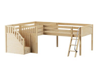 Maxtrix YINGYANG Corner Low Loft Bed Full Size Natural