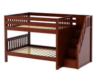 Maxtrix DAPPER Low Bunk Bed with Stairs Full Size Chestnut | Maxtrix Furniture | MX-DAPPER-CX