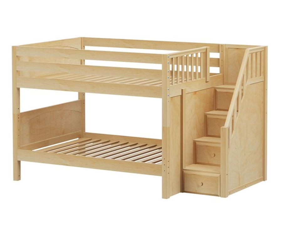 maxtrix dapper low bunk bed with stairs matrix kids. Black Bedroom Furniture Sets. Home Design Ideas