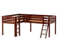 Maxtrix DOUBLE Corner Low Loft Bed Twin Size Chestnut | Maxtrix Furniture | MX-DOUBLE-CX