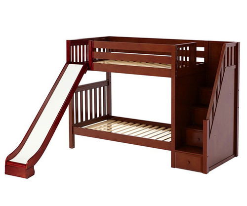 maxtrix ecstatic medium bunk bed with stairs and slide matrix kids furniture solid wood bed. Black Bedroom Furniture Sets. Home Design Ideas