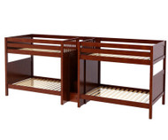 Maxtrix GIGA Quadruple High Bunk Bed with Stairs Full Size Chestnut | Maxtrix Furniture | MX-GIGA-CX