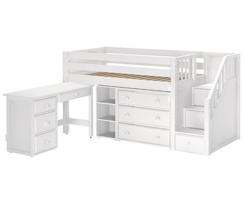 Maxtrix Great Storage Low Loft Bed With Stairs Amp Desk