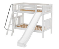 Maxtrix HAPPY Medium Bunk Bed w/ Slide Twin Size White | Maxtrix Furniture | MX-HAPPY-WX