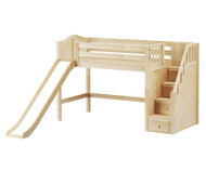 Maxtrix HERO Mid Loft Bed with Stairs and Slide Twin Size Natural | Maxtrix Furniture | MX-HERO-NX