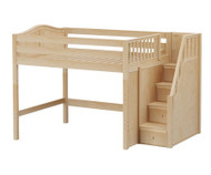Maxtrix HIT Mid Loft Bed with Stairs Full Size Natural | Maxtrix Furniture | MX-HIT-NX