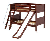 Maxtrix LAUGH Low Bunk Bed w/ Slide Twin Size Chestnut | Maxtrix Furniture | MX-LAUGH-CX