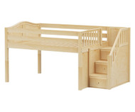 Maxtrix PERFECT Low Loft Bed with Stairs Full Size Natural | Maxtrix Furniture | MX-PERFECT-NX