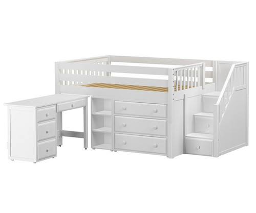 Maxtrix Perfect2l Storage Low Loft Bed With Stairs Amp Desk