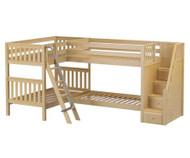 Maxtrix QUAD Corner Bunk Bed with Stairs Twin Size Natural | Maxtrix Furniture | MX-QUAD-NX