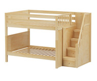 Maxtrix QUASAR Medium Bunk Bed with Stairs Full Size Natural | Maxtrix Furniture | MX-QUASAR-NX