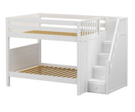 Maxtrix QUASAR Medium Bunk Bed with Stairs Full Size White | Maxtrix Furniture | MX-QUASAR-WX