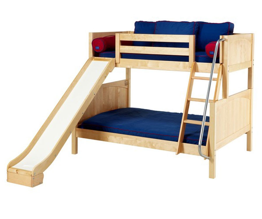 maxtrix slick twin over full bunk bed with slide matrix kids furniture solid wood bed frames. Black Bedroom Furniture Sets. Home Design Ideas