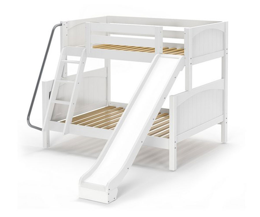 White Maxtrix Slick Twin Over Full Bunk Bed With Slide Matrix Kids