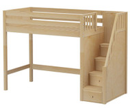 Maxtrix STAR High Loft Bed with Stairs Twin Size Natural | Maxtrix Furniture | MX-STAR-NX