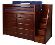 Maxtrix STAR Storage High Loft Bed with Stairs Twin Size Chestnut | Maxtrix Furniture | MX-STAR3-CX