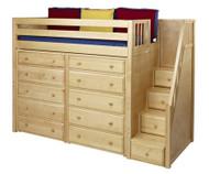 Maxtrix STAR Storage High Loft Bed with Stairs Twin Size Natural | Maxtrix Furniture | MX-STAR3-NX