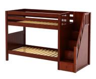 Maxtrix STELLAR Medium Bunk Bed with Stairs Twin Size Chestnut | Maxtrix Furniture | MX-STELLAR-CX