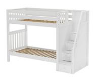 Maxtrix STELLAR Medium Bunk Bed with Stairs Twin Size White | Maxtrix Furniture | MX-STELLAR-WX