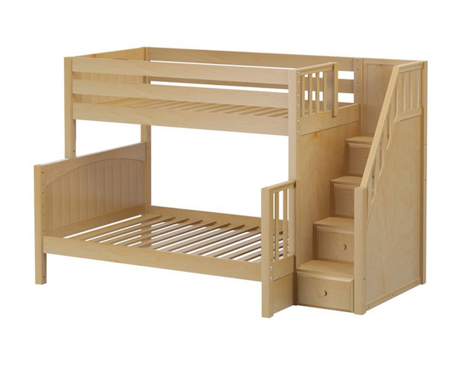 Maxtrix Sumo Twin Over Full Bunk Bed With Stairs In Natural Wood