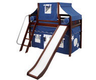 Maxtrix SWEET Mid Loft Bed with Tent & Slide Twin Size Chestnut 1 | Maxtrix Furniture | MX-SWEET22-CX