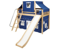 Maxtrix SWEET Mid Loft Bed with Tent & Slide Twin Size Natural 1 | Maxtrix Furniture | MX-SWEET22-NX