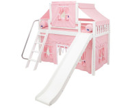 Maxtrix SWEET Mid Loft Bed with Tent & Slide Twin Size White 1 | Maxtrix Furniture | MX-SWEET23-WX