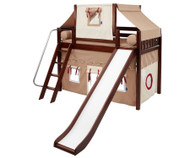 Maxtrix SWEET Mid Loft Bed with Tent & Slide Twin Size Chestnut 3 | Maxtrix Furniture | MX-SWEET30-CX