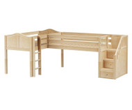 Maxtrix TANDEM Corner Low Loft Bed Twin Size Natural | Maxtrix Furniture | MX-TANDEM-NX