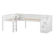 Maxtrix TANDEM Corner Low Loft Bed Twin Size White | Maxtrix Furniture | MX-TANDEM-WX